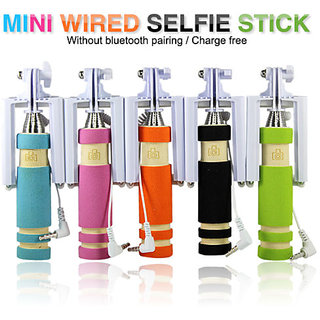 New Mobile Mini Pocket Selfie Stick monopod wired for iphone and all smartphones