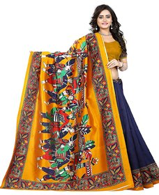 Indian Beauty Women's Mysore Silk Kalamkari Printed Saree (Blue)
