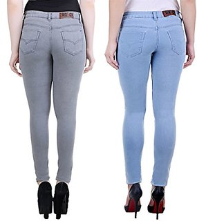 Angela Women Slim Grey  Ice blue denim Fit Ankle Length Jeans (pack of 2)