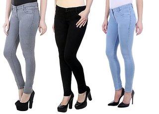 Angela Women Slim Grey, black  Ice blue denim Fit Ankle Length Jeans (pack of 3)