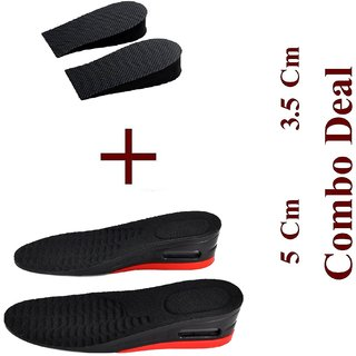 Royalkart 3.5 Cm + 5 Cm Combo Height Increasing Shoes Insoles Adjustable For Men Woman Sports Orthotic (Black)