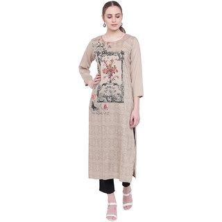 Pinky Pari Rayon Printed Beige Straight Fit Kurta