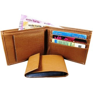 WENZEST Tan Artificial Leaher wallet for mens upto 10 Card slots (No-chainAlbum)