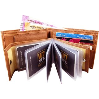 Wenzest Mens Tan Artificial Leather Wallet upto 10 card slots (Nochain)