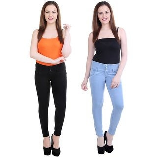 Angela pack of 2 Women High waist ice blue And black denim Fit Ankle Length Jeans