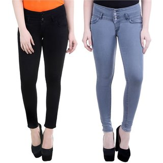 Angela pack of 2 Women High waist Grey And black denim Fit Ankle Length Jeans (pack of 2)