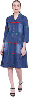 Pinky Pari Blue Color Denim Embroidered Fit  Flare Midi Dress
