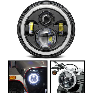 LIONEX 7 Inch Full Ring LED HeadLight for Bullet Classic Thunderbird Electra Mahindra Thar etc.