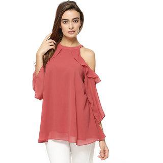 4b00da01bafba Buy Fabrange Carrotish Pink Ruffled Georgette Cold Shoulder Top Online -  Get 63% Off