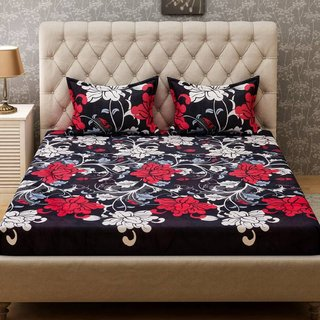 Supreme Home Collective Microfiber Abstract Double Bedsheet with 2 Pillow Covers