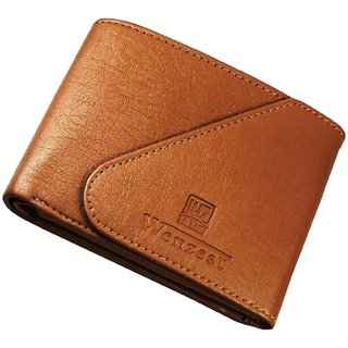 WENZEST Men Tan Fashionable Side Flap Artificial Leather Formal Wallet (WL-Tankaan)