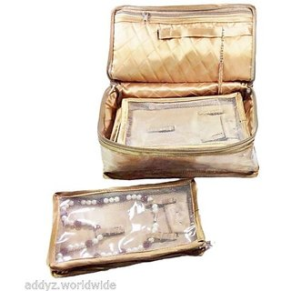 ADWITIYA Golden 5 Slots Pouch Bags for Necklace Set Jewellery Organizer Travel Friendly Vanity Gift Case