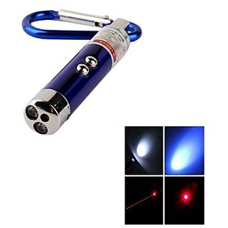 Laser Pointer 3 in 1 - LED Mini Flashlight Torch, Car Keychain, Money detector