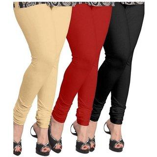 Evection Premium Cotton Legging Set of 3 - Beige Black  Red