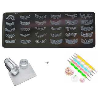 Royalkart Nail Art Stamping Image Design Plate TO-32 With Silicon Stamper And 5 pcs Double-Sided Dotting Tool