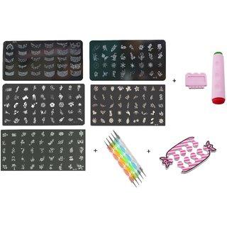 Royalkart Nail Art Stamping Kit Decoration 5 Large Image Plates With Double Sided Stamper metal Scraper Nail Art 5pcs