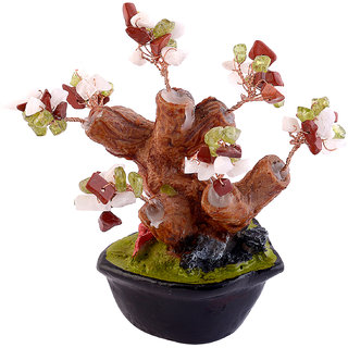 Optima Feng Shui Original and Natural SEMI PRECIOUS STONE Bonsai Tree (Multi Crystal)