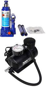Combo Of Black Car Air Compressor And Blue Bottle Jack