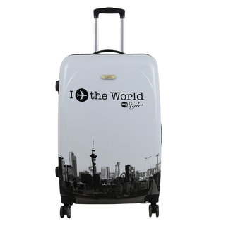 Unisex Tourister Poly carbonate Hard sided Suitcase White Cabin Trolley travel Bag