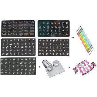 Royalkart Nail Art Stamping Kit Decoration 5 Large Image Plates With Silicon Stamper Scraper Nail Art 5pcs Double-si