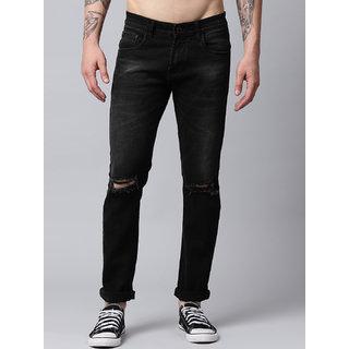 Stylox Knee Cut Men's Slim Fit Black Ripped Damaged Jeans