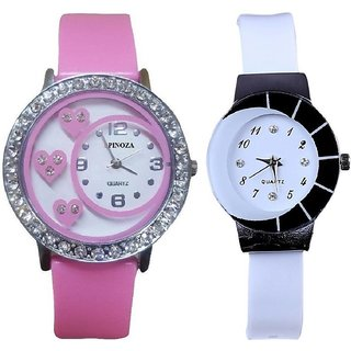 Star Letest collation with beautiful attractive pink and white watch Analog Watch - For Women