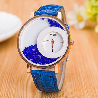 Mxre Blue Strap White dial Analog leather watch for women