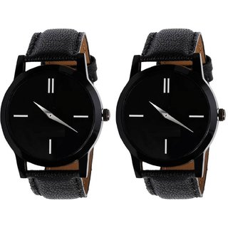 Lo Rm Black 5 No. 2 Pic Round Black Dial Analog Watch Combo for Men