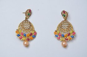 Party wear golden Multicolored Stoned earring with mini pearls in center(Earring height - 6 cm , packing weight- 55 gm )
