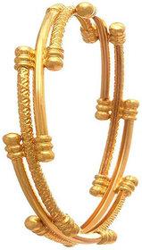 Chrishan High Gold Plated Designer Alloy Gold Single Bangle For Women.