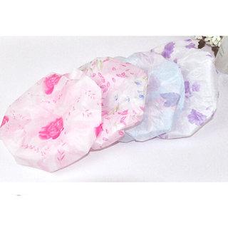 Mahek 3 pcs Shower Cap Reusable Clear Plastic Hair Cover