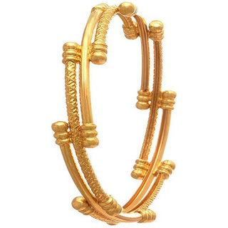 Chrishan High Gold Plated Designer Alloy Gold Single Bangle For Women.