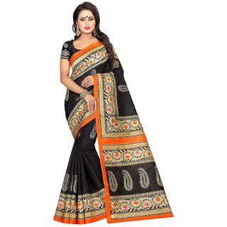 Cloveo Printed Bhagalpuri Silk Saree With Blouse Piece In Black Color For Women