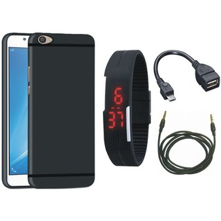 Redmi A1 Back Cover with Digital Watch, OTG Cable and AUX Cable