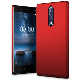 Nokia 8 Back Cover case with Free Earphone Handsfree With Audio SplitterCombo Offer By Vinnx - Red
