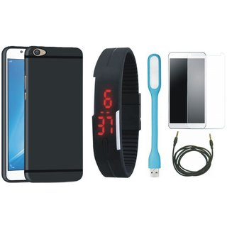 Redmi A1 Stylish Back Cover with Free Digital LED Watch, Tempered Glass, LED Light and AUX Cable