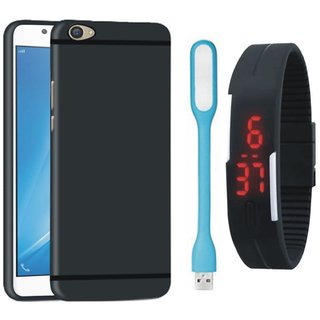 Redmi A1 Silicon Anti Slip Back Cover with Digital Watch and USB LED Light