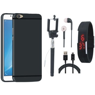 Redmi A1 Silicon Anti Slip Back Cover with Selfie Stick, Digtal Watch, Earphones and USB Cable