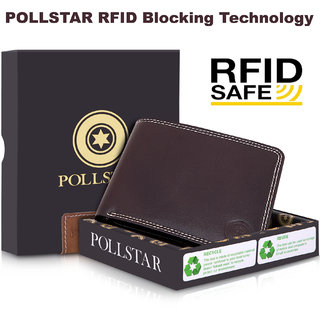 POLLSTAR Men's BI-fold RFID Blocking Luxury Leather Wallet with Extra Capacity (WL702BN)