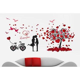 Buy Decor Kafe Couple Love Tree And Heart Birds Wall Sticker