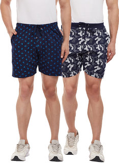 Vimal-Jonney Navy Blue Printed And Camouflage Navy Blue Shorts For Men(Pack Of 2)