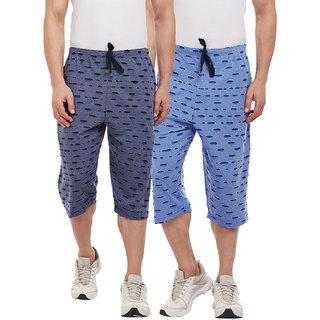 Vimal-Jonney Ripped Look Navy Blue And Sky Blue 3/4th/Capri For Men(Pack Of 2)