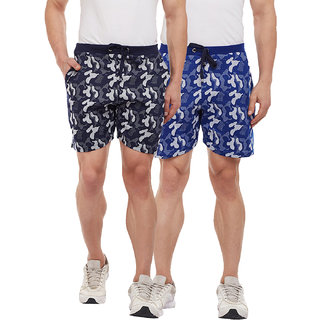 Vimal-Jonney Camouflage Navy Blue And Royal Blue Shorts For Men(Pack Of 2)