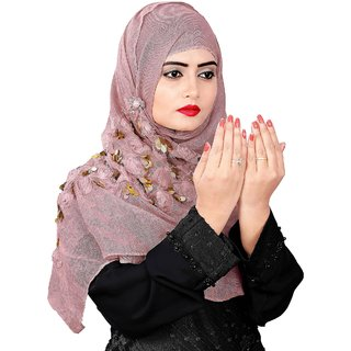 Hijabbo Imported Polyester Cotton Hijab With 3D Piping Work For Girls  Women