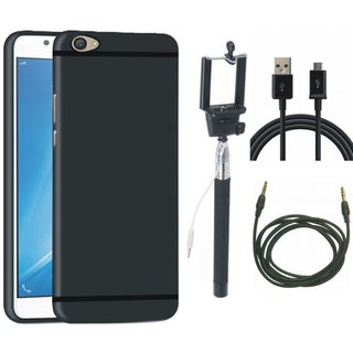 Vivo Y55s Silicon Anti Slip Back Cover with Selfie Stick, USB Cable and AUX Cable