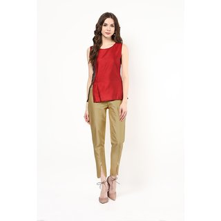 Hitashi Fashion Silk With 100  Cotton Lining Golden Tulip Pant for Women (Size- L)
