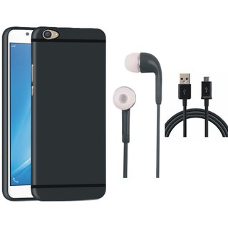 Oppo F3 Plus Soft Silicon Slim Fit Back Cover with Earphones and USB Cable