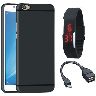 Oppo F3 Plus Soft Silicon Slim Fit Back Cover with Digital Watch and OTG Cable
