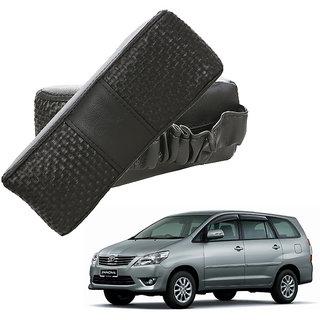Auto Addict CV Designer Black Neck Leatherite Car Pillow Cushion Kit 2 Pcs for Toyota Innova