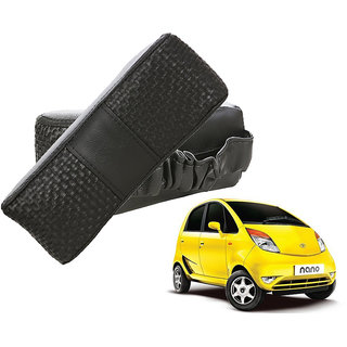 Auto Addict CV Designer Black Neck Leatherite Car Pillow Cushion Kit 2 Pcs for Tata Nano